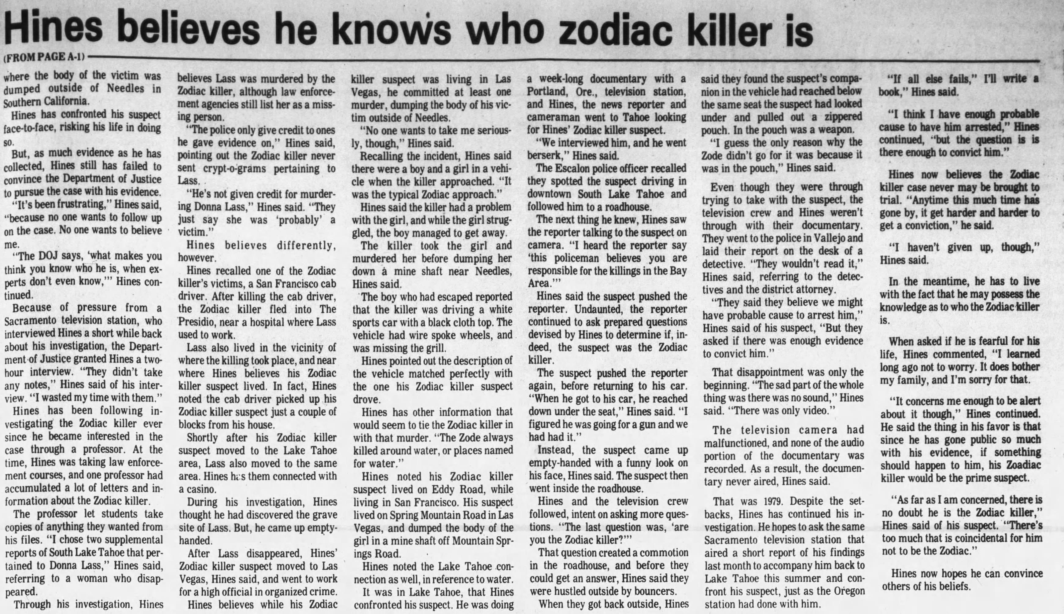 Harvey Hines Zodiac Newspaper story June 01 1988
