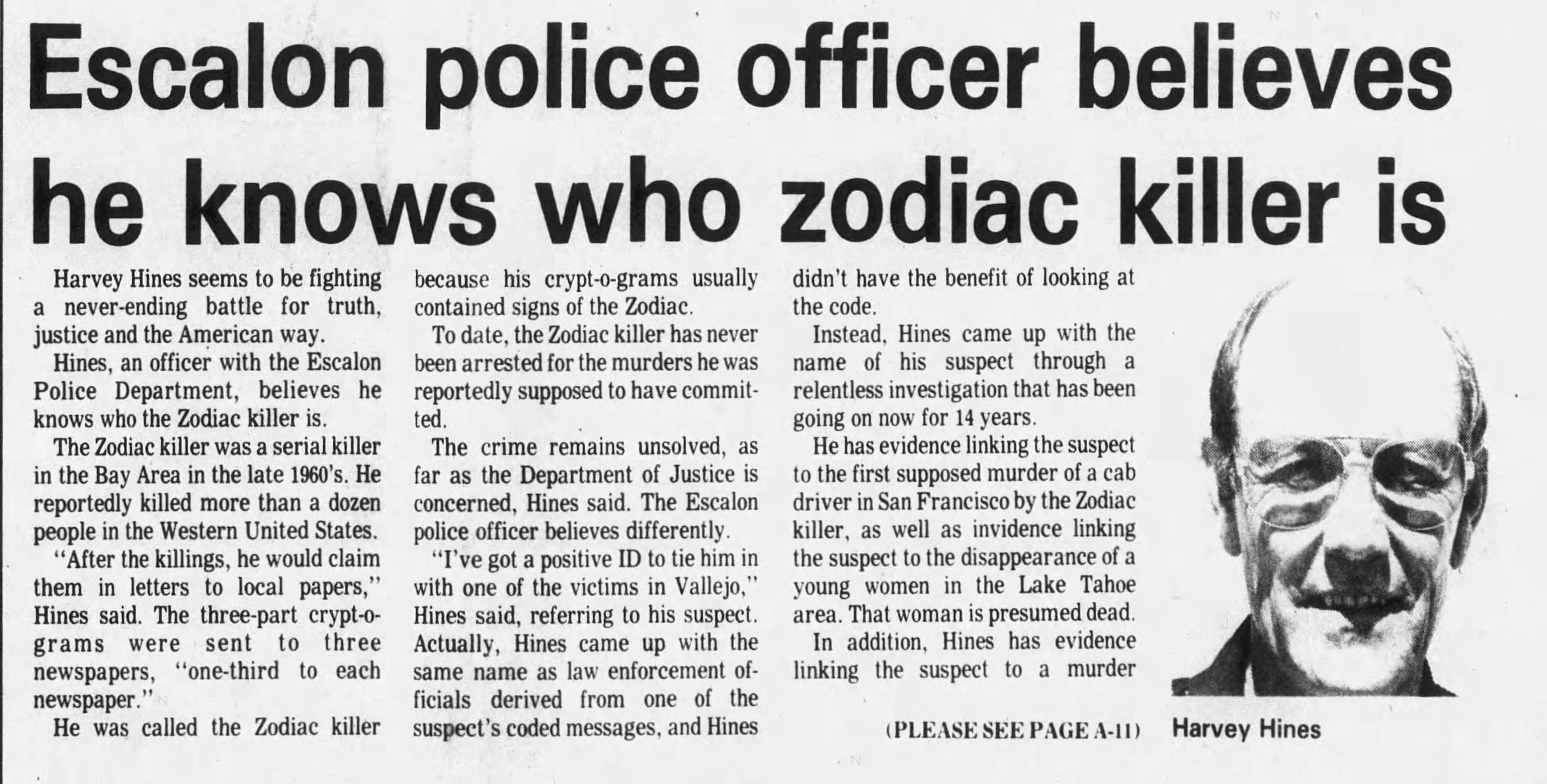 Harvey Hines Zodiac Newspaper Story Part 1 June 01 1988