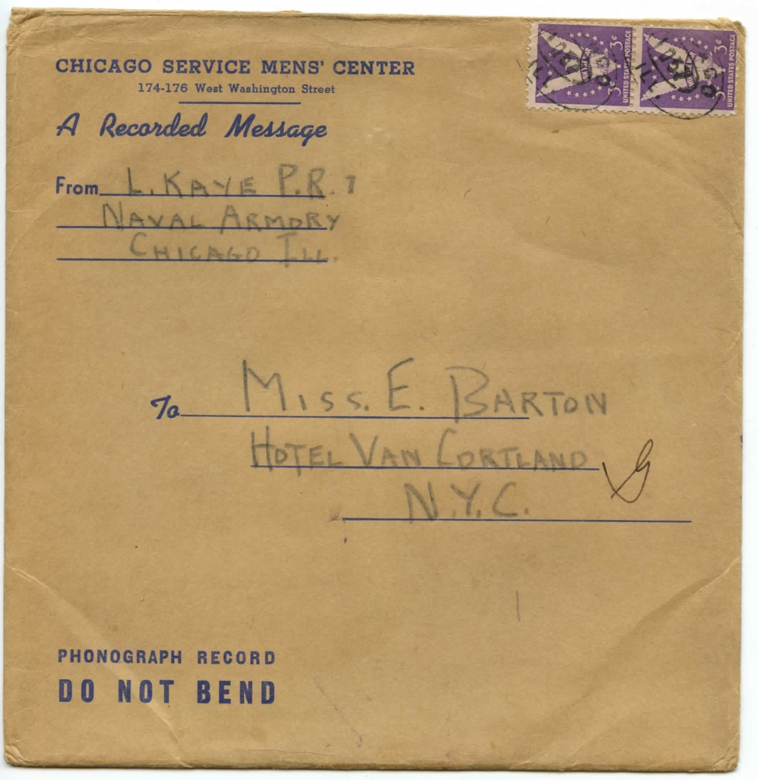 Larry Klein (Kaye) 1943 Letters and Recording to Eileen Barton-page-001