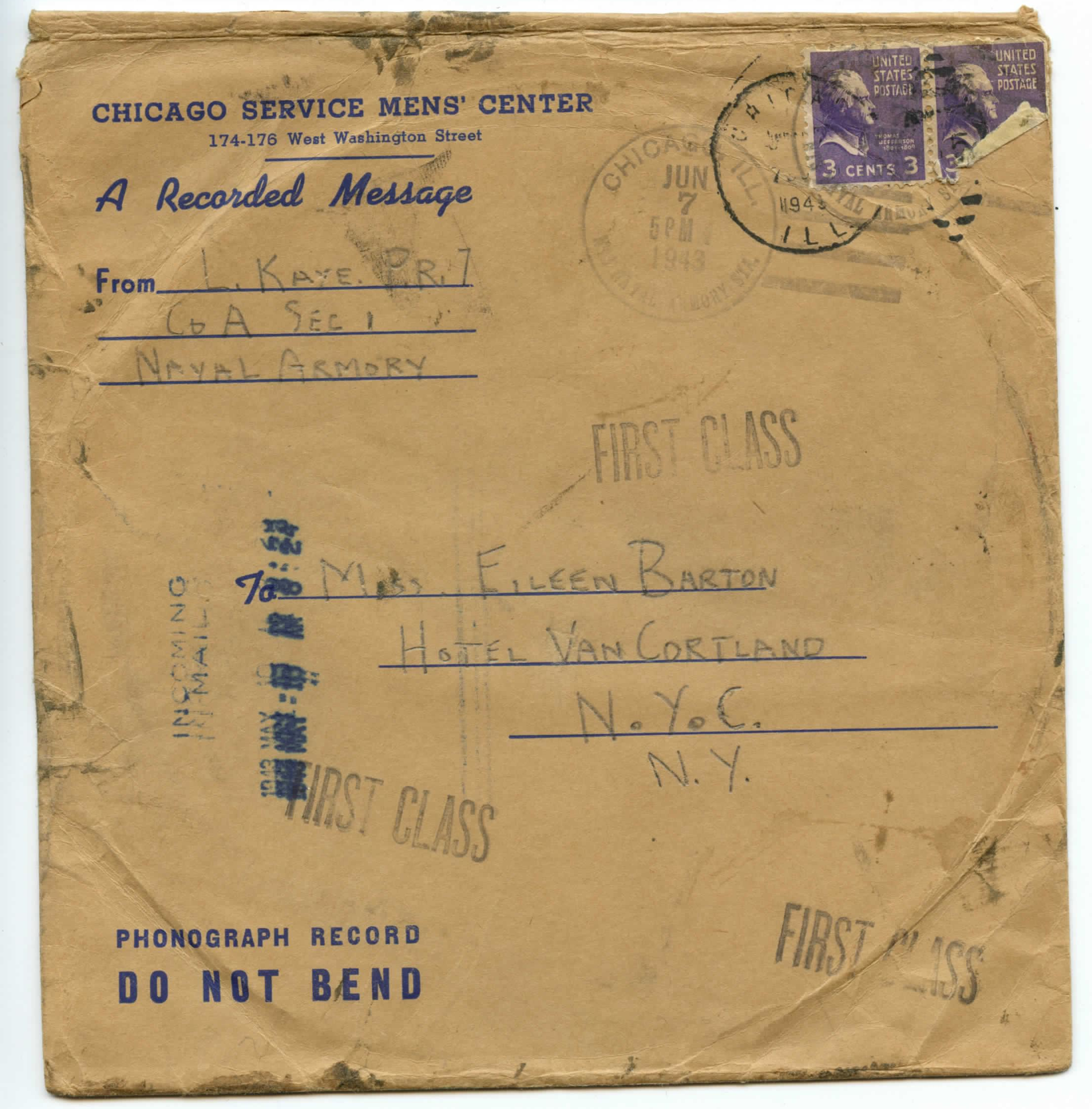 Larry Klein (Kaye) 1943 Letters and Recording to Eileen Barton-page-011