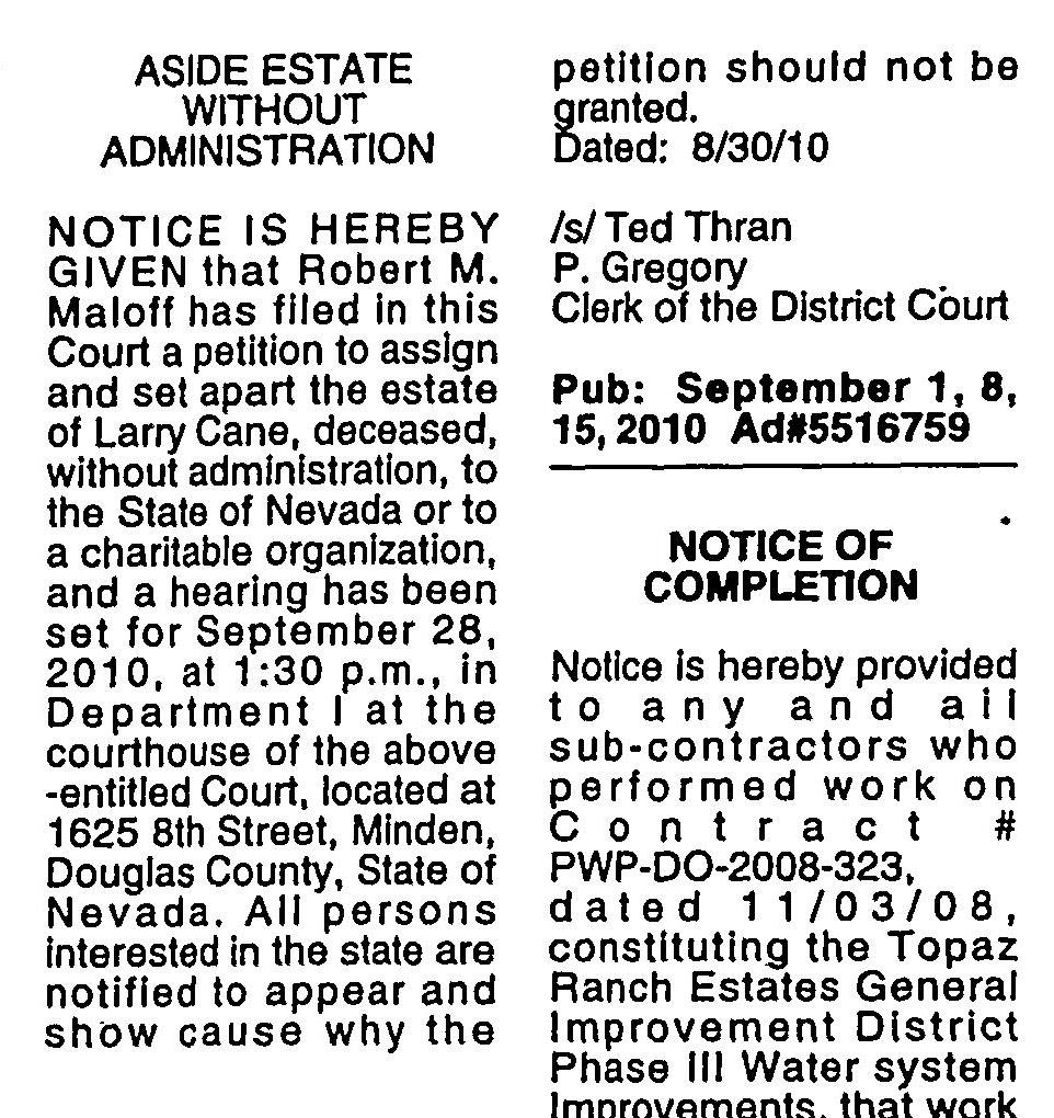 Lawrence Kane death notice Page 30 of Record Courier,published in Gardnerville, Nevada on Wednesday, September 8th, 2010