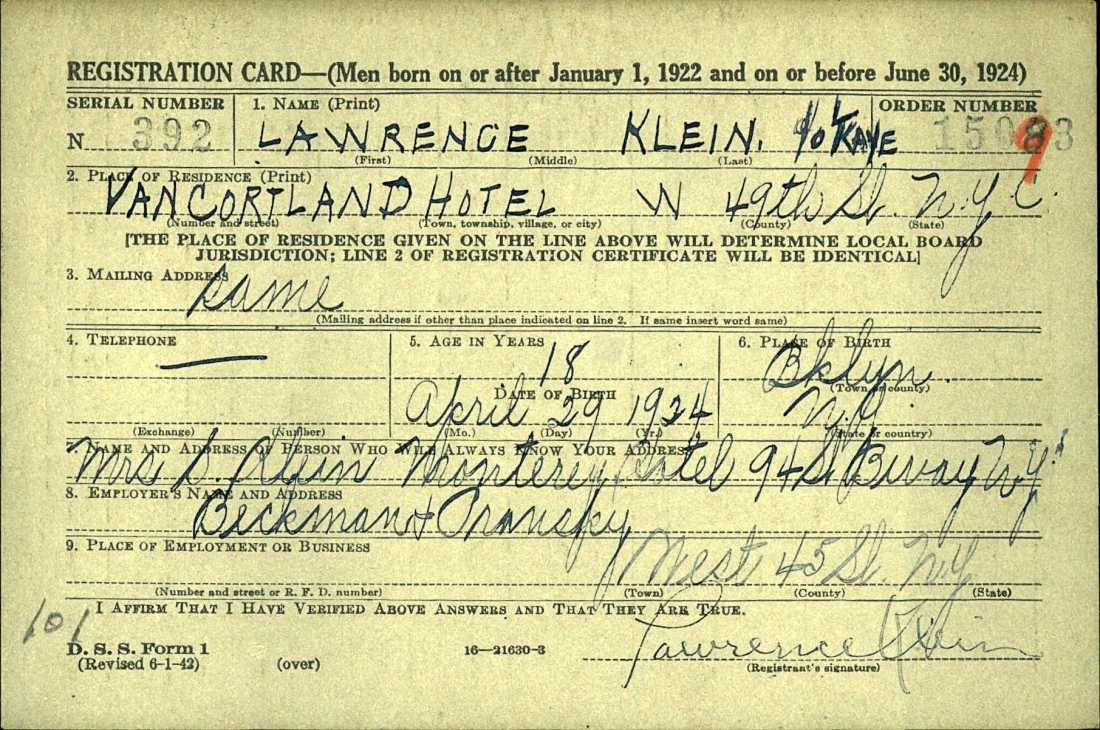 Lawrence Kane military registration