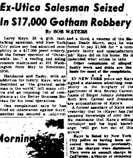 Lawrence Kane Kaye. Zodiac Killer suspect. Newspaper article.