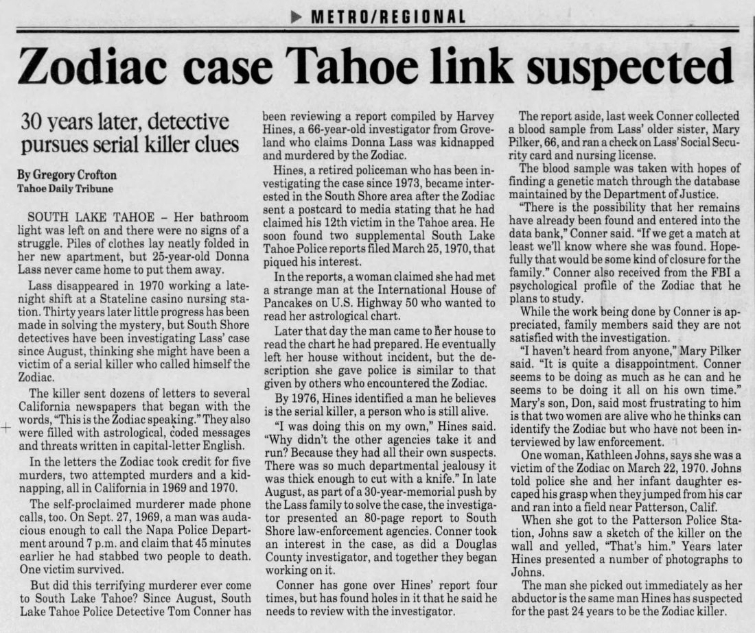 The Sacramento Bee Nov 16 2000 Donna Lass Zodiac connection probed