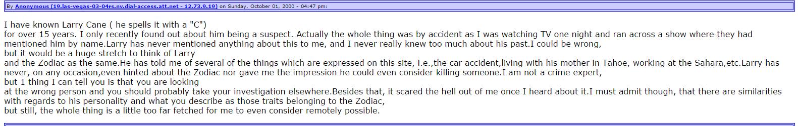 Zodiackiller.com Message Board