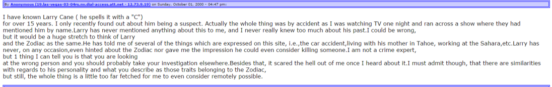 Zodiackiller.com Message Board