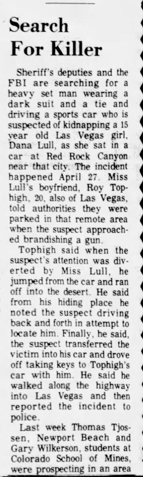 needles desert star may 23 1974 Dana Lull
